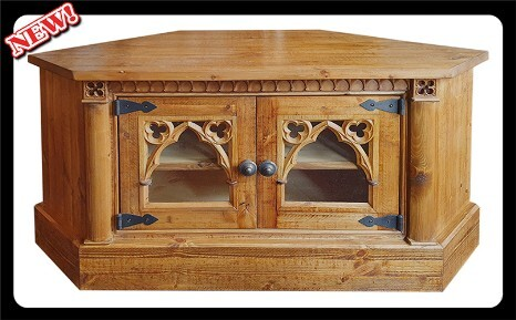 Minster Gothic Fusion Corner TV / Media Stand / Cupboard (Antique Pine Stain)