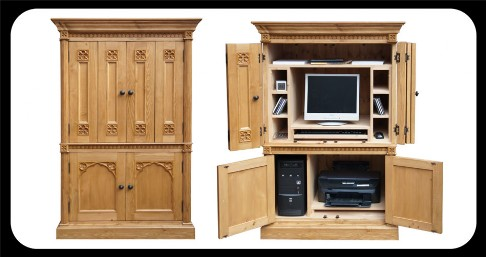 Minster Gothic PC Cabinet with bi-fold doors.