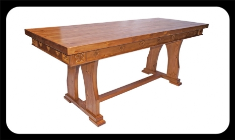 "Minster Gothic Classic ""Seymour"" Refectory Table  (Antique Pine Stain)"