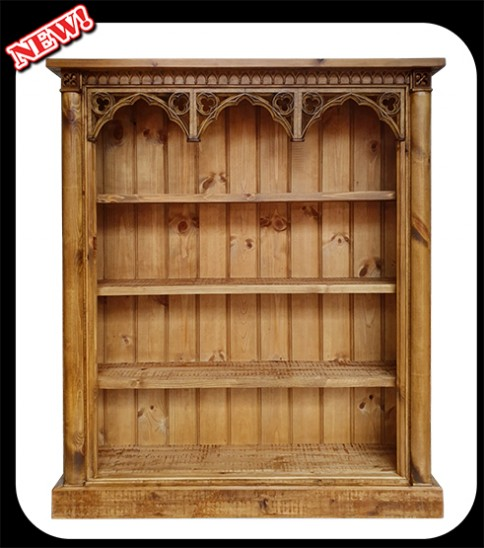 "Minster Gothic Fusion ""Charlotte"" DVD/Bookcase in Antique Pine Finish"