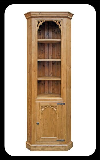 Minster Rustic Floor Standing Corner Display Cupboard with Small Gothic Corner Mouldings