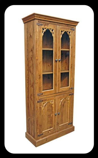 Minster Gothic Rustic Glazed Bookcase / Display Cabinet