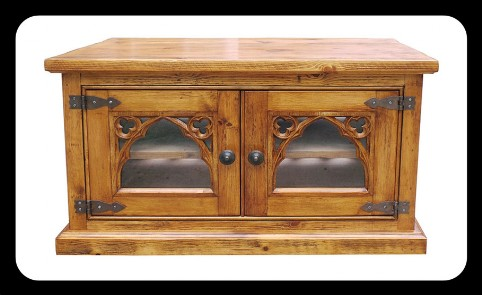 "Minster Rustic Gothic ""Tollgate"" Glazed  TV / Utility Cabinet"