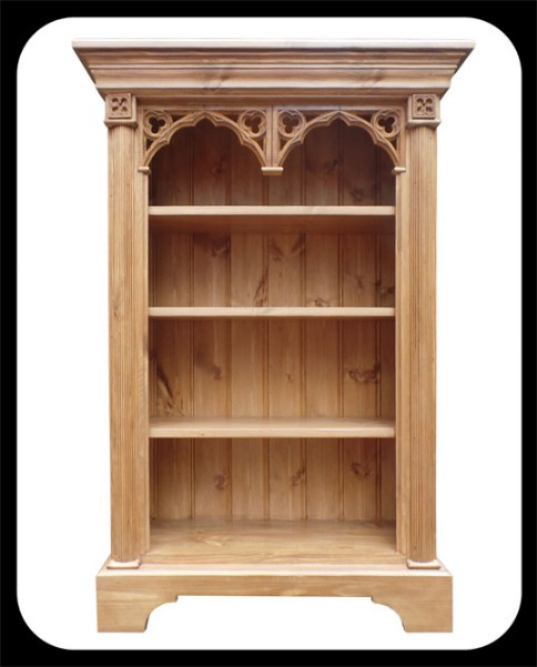 "Minster Gothic Classic ""Collighan"" Small Bookcase in Antique Pine Finish"